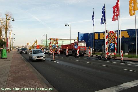 wegenwerken Bergensesteenweg Anderlecht ter hoogte van IKEA
