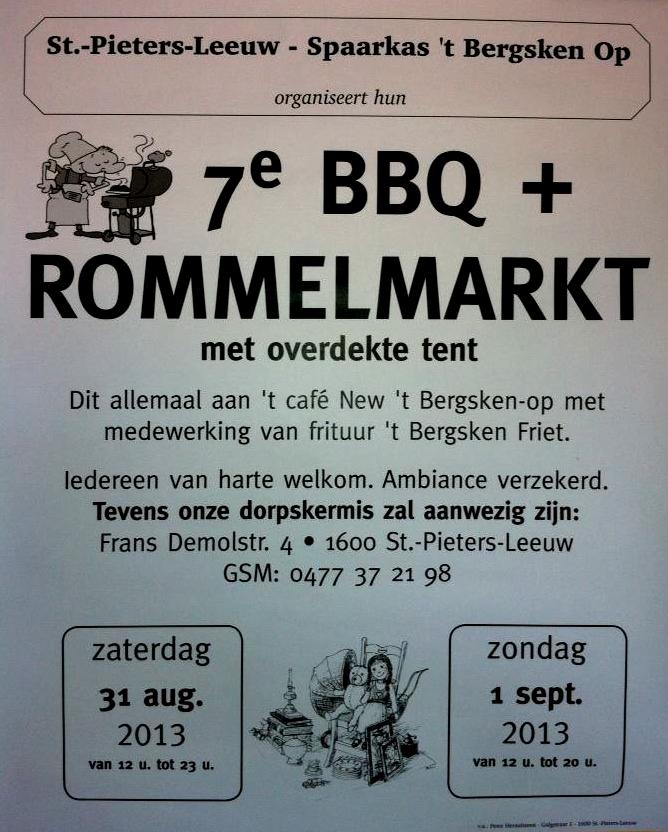 agenda 7de barbecue en rommelmarkt Sint Pieters Leeuw