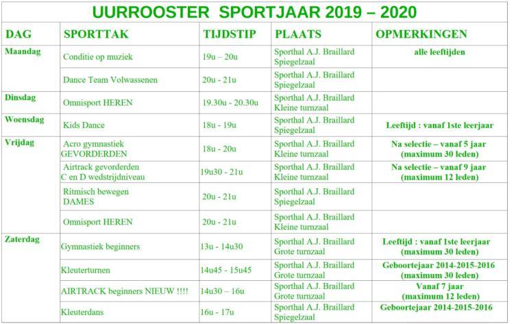 2019-08-15-Turnsport Vebroedering Ruisbroek-schema 2019-2020