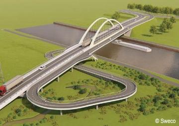 Simulatie fietsspiraal Driefonteinenbrug St.-Pieters-Leeuw